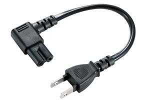 【サンワサプライ】 電源アダプタコード、2P-L型メガネ2S、コード長さ0.2m、7A・125V(700Wまで)