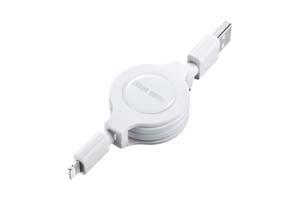 【サンワサプライ】Lightningコネクタ巻き取りケーブル Lightningコネクタ オス-USB A オス(0.1~0.8m、ホワイト)