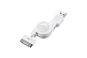 【サンワサプライ】 巻き取りUSB2.0ケーブル、iPod・iPhone・iPad用、Dockコネクタ-Aオス、~0.8m