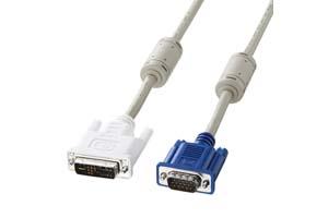 【サンワサプライ】DVI-Aケーブル DVI-A(12+5pin)オス-ミニD-sub(HD)15pinオス