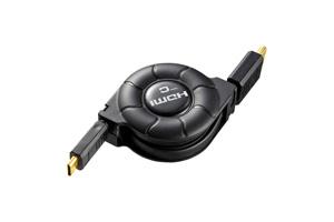 【サンワサプライ】 HDMI巻取りケーブル、片側ミニHDMIオス-片側HDMIオス、~1.2m 【在庫限りで販売中止】