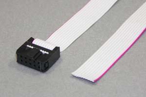 MILソケットケーブル 10pin フラットケーブル(片側メス、極性ガイド内向き)