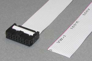 MILソケットケーブル 16pin フラットケーブル(片側メス、極性ガイド外向き)