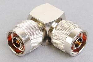同軸コネクタ用中継アダプタ  N型オス-N型オス(Lアングル形状、インピーダンス50Ω)