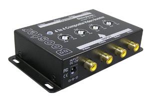コンポジットビデオ信号 エクステンダー:最大300m延長(映像信号延長器:4入力4出力タイプ/ブースト型) 【在庫限り販売中止】