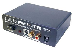 S端子ビデオ信号+オーディオ信号スプリッター(映像信号分配器:1入力4分岐)