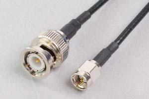 50オーム同軸ケーブル SMAオス-BNCオス (MIL規格RG-174電線タイプ、JIS規格1.5D-2V相当)