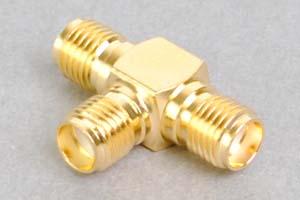 同軸コネクタ用分岐アダプタ  SMAメス×3のT型分岐(インピーダンス50Ω)