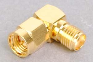 同軸コネクタ用中継アダプタ  SMAオス-SMAメス(Lアングル型、インピーダンス50Ω)