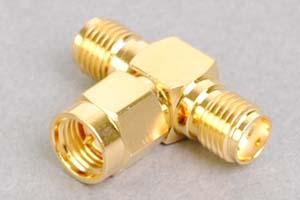 同軸コネクタ用中継アダプタ  SMAオス-SMAメス×2のT型分岐(インピーダンス50Ω)