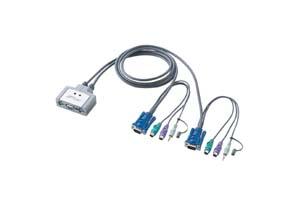 【サンワサプライ】 CPU自動切替器:KVMスイッチ、1対2、VGAモニター用、PS/2コンソール接続タイプ 【在庫限り販売中止】