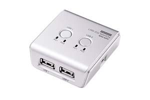 【サンワサプライ】 USB2.0手動切替器、2入力(Bメス)-2出力(Aメス)、2分岐出力機能付き