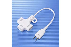【サンワサプライ】 電源延長コード、2Pプラグ用3分岐ケーブル、長さ0.3m、15A・125V(1500Wまで)