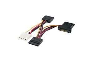 【サンワサプライ】 SATA電源拡張ケーブル、SATA15pin×3-4P電源×1