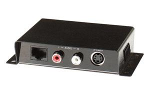 S端子ビデオ+オーディオ信号(RCA端子)エクステンダー:最大300m延長(映像信号延長器:1入力1出力タイプ/UTPケーブル(LANケーブル)延長型) 【在庫限り販売中止】