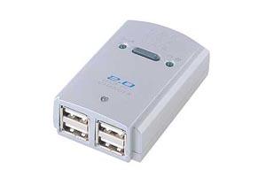 【サンワサプライ】 USB2.0ハブ、4ポート、手動切替器付き、セルフ/バスパワー両用