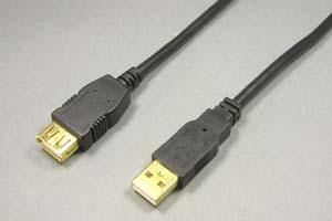 USB2.0ケーブル Aコネクタ オス-Aコネクタ メス(金メッキシェル) <延長用>