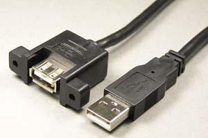 USB2.0ケーブル Aコネクタ オス-パネルマウントAコネクタ メス <パネルマウント中継用>
