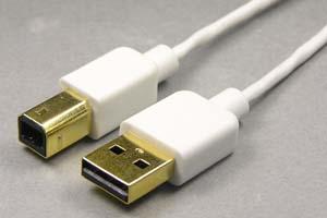 超極細・コンパクト・柔軟 USB2.0ケーブル Aコネクタ オス-Bコネクタ オス(金メッキシェル)