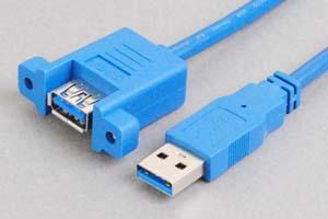 USB3.0ケーブル Aコネクタ オス-パネルマウントAコネクタ メス <パネルマウント中継用>