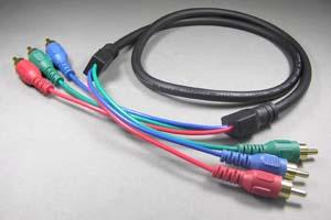 ビデオケーブル コンポーネント端子 RCAオス×3-RCAオス×3 (赤青緑、直径7mmの3芯同軸タイプ、OFC電線) 【在庫限り販売中止】