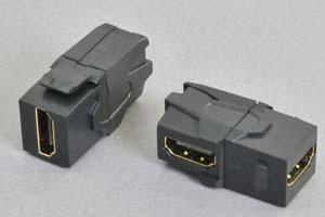 スナップイン中継コネクタ 両側HDMIメス端子、背面アングル方向配線引き出しタイプ、黒 【HDMI2.0対応】