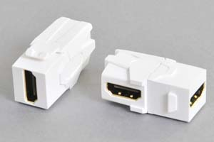 スナップイン中継コネクタ 両側HDMIメス端子、背面アングル方向配線引き出しタイプ、白 【HDMI2.0対応】