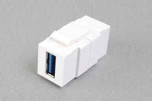スナップイン中継コネクタ USBコネクタ(Aコネクタ メス 白) 【USB3.0対応】 クロス結線タイプ