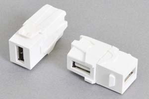 スナップイン中継コネクタ 両側USB2.0-Aメス、背面アングル方向配線引き出しタイプ、白