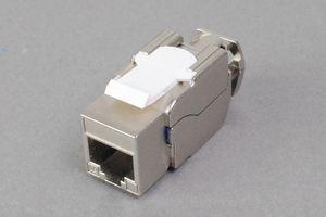 スナップイン中継コネクタ、10Gbps通信対応、RJ-45メス工具不要ストレート方向配線型(LAN配線用、CAT6A対応、金属シールドタイプ)