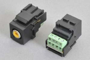 スナップイン中継コネクタ RCAコネクタ メス(赤、白、黄)、背面端子台配線タイプ(本体色:黒色)