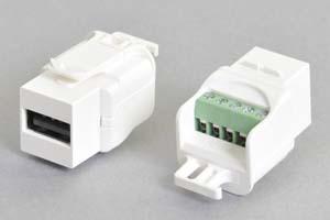 スナップイン中継コネクタ USB2.0-Aメス端子、背面端子台配線タイプ、白