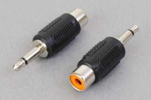 オーディオ用変換アダプタ 3.5mmミニプラグ(オス)⇔RCA(メス)