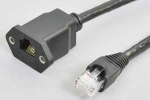 パネルマウント LANケーブル(CAT6A規格対応)  RJ45オス-パネルマウントRJ45メス 【10Gbps通信対応】 (AC6MF-PL150、AC6MF-PL1000の後継品)