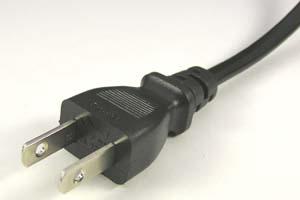 電源ケーブル(片側2Pプラグ/片側切り落とし、扁平型電線タイプ)<7A-125V>