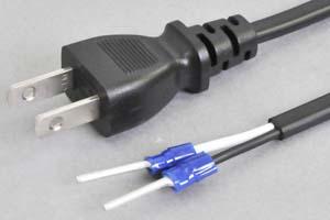 電源ケーブル(2Pプラグ/棒型絶縁被覆圧着端子、扁平型電線タイプ)<12A-125V>