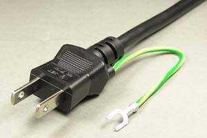 電源ケーブル(片側アース端子付き2Pプラグ/片側切り落とし、丸型電線タイプ)<7A-125V>