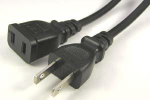 電源ケーブル(2Pプラグ/2Pソケット、扁平型電線タイプ)<12A-125V>