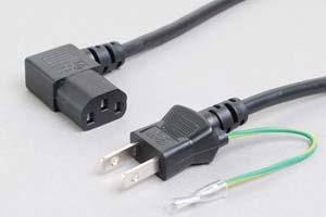 電源ケーブル(アース端子付き2Pプラグ/左向きL型3Pソケット)<7A-125V>