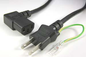 電源ケーブル(アース端子付き2Pプラグ/右向きL型3Pソケット)<12A-125V>