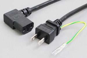 【耐トラッキング対策】 電源ケーブル(アース端子付き2Pプラグ/右向きL型3Pソケット)<7A-125V>