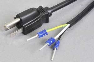 電源ケーブル(3Pプラグ/棒型絶縁被覆圧着端子)<15A-125V>