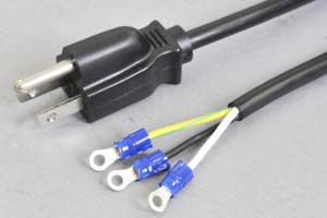 電源ケーブル(3Pプラグ/丸型絶縁被覆圧着端子)<15A-125V>