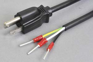 電源ケーブル(3Pプラグ/棒型絶縁被覆圧着端子)<7A-125V>