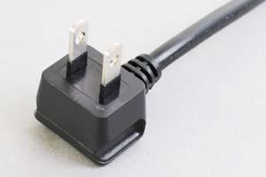 【耐トラッキング対策】 電源ケーブル(片側 耐トラッキング対策 2Pアングルプラグ/片側切り落とし)<7A-125V>