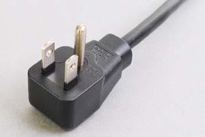 【耐トラッキング対策】 電源ケーブル(片側 耐トラッキング 3Pアングルプラグ/片側切り落とし)<7A-125V>