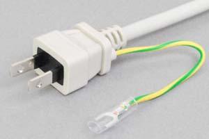 【耐トラッキング対策】 電源ケーブル(片側アース端子付き2Pプラグ/片側切り落とし、ライトグレー色の丸型電線タイプ)<7A-125V>