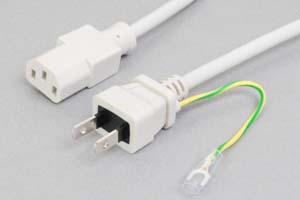 【耐トラッキング対策】 電源ケーブル(アース端子付き2Pプラグ/3Pソケット、ライトグレー色)<7A-125V>