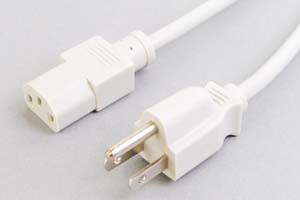 電源ケーブル(3Pプラグ/3Pソケット、ライトグレー色)<7A-125V>