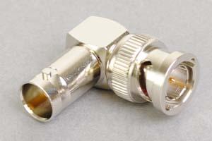 同軸コネクタ用中継アダプタ  BNCオス-BNCメス、Lアングル型(インピーダンス75Ω)